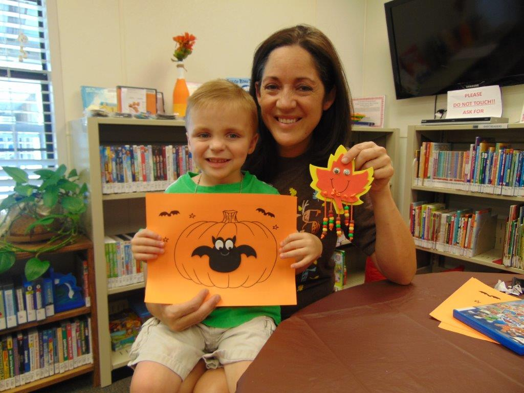 HB mom & son with craft