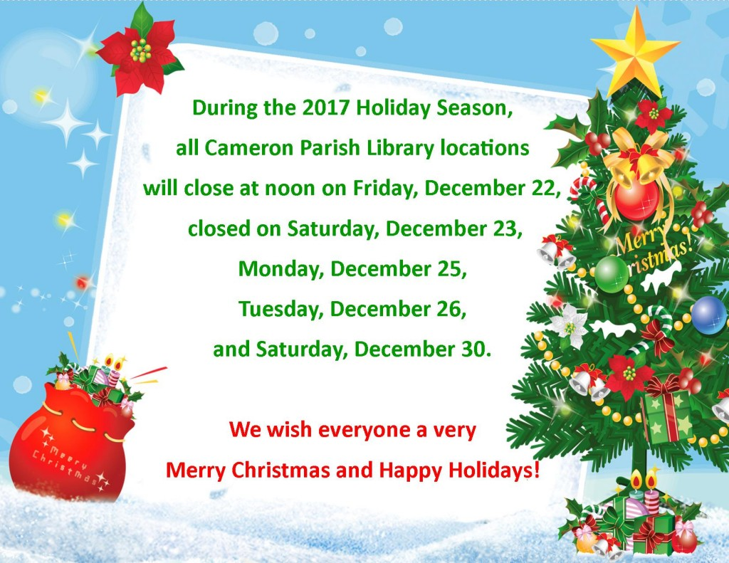 Christmas closed dates flyer