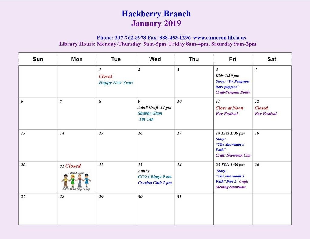 HB Jan 2019 Events