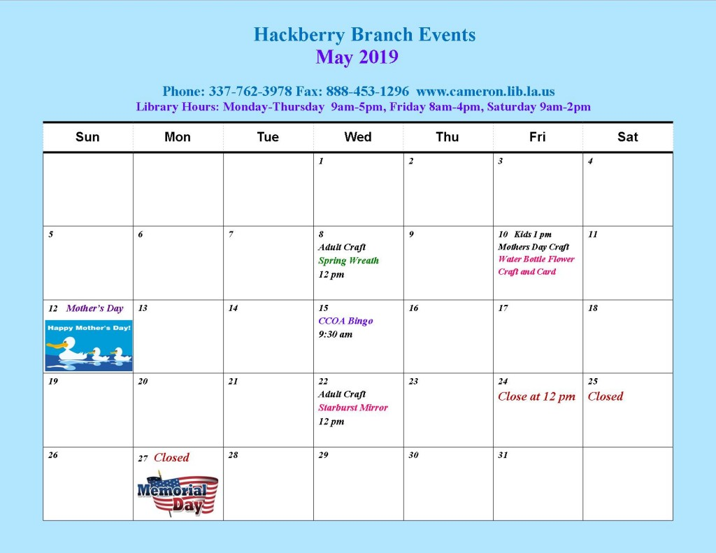 HB_ May Events 2019