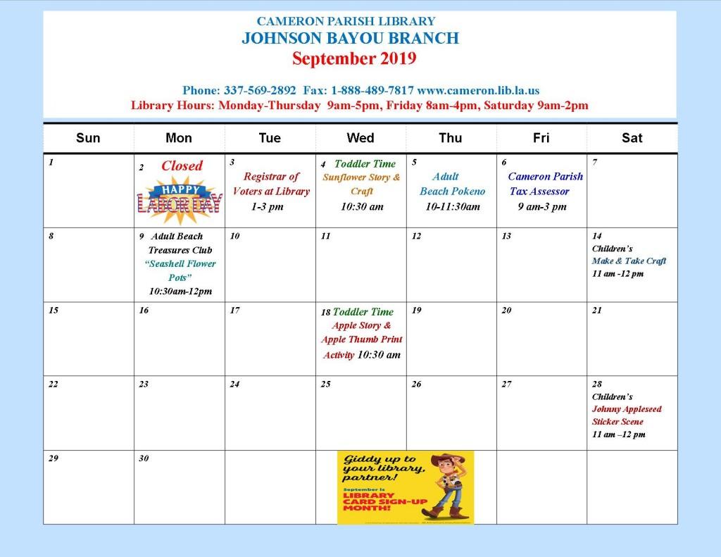 JB_Sept 2019_ Event Calendar